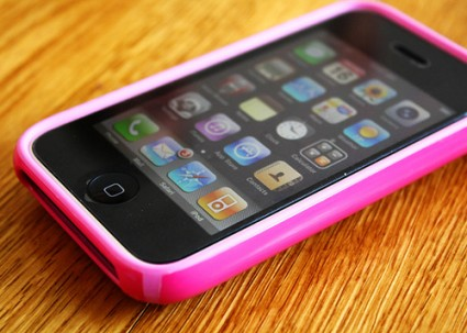 iPhone with pink cover