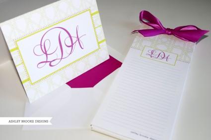 Ashley Brooke Designs: Lemon & Raspberry Personal Stationery