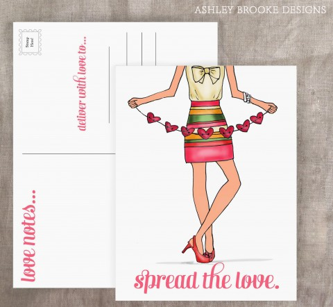 Valentine's Day Post Cards Ashley Brooke Designs