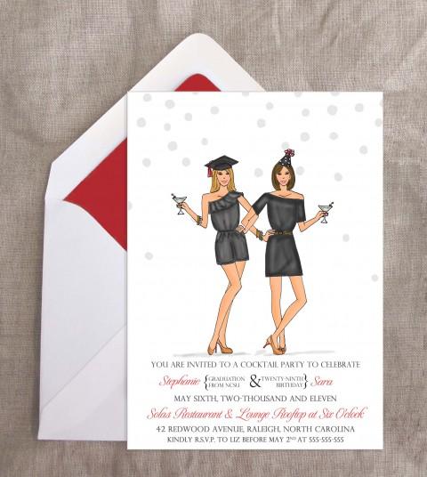 new custom illustration stephanie sara s joint party invite