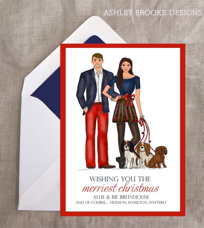 New Custom Illustration} A Preppy Holiday Card - Ashley Brooke Designs