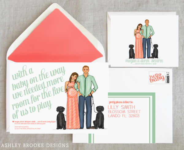 new custom illustration a baby moving announcement all in one
