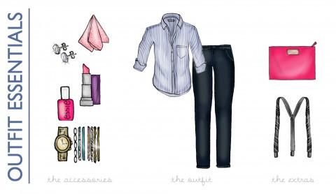 Girls Wear Men's Wear Illustration via Ashley Brooke Designs