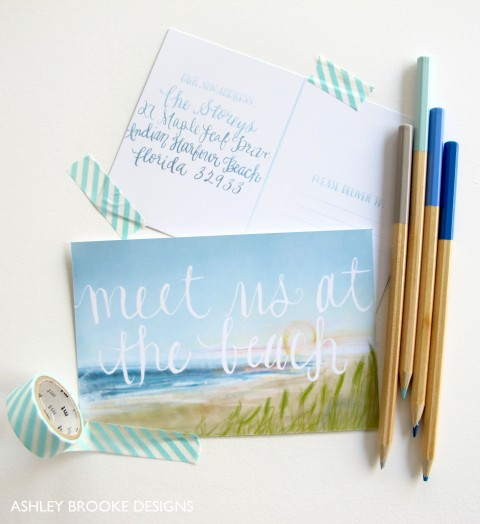 Beach Postcard Moving Announcements via Ashley Brooke Designs