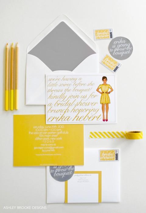 Custom Bridal Shower Invitations via Ashley Brooke Designs