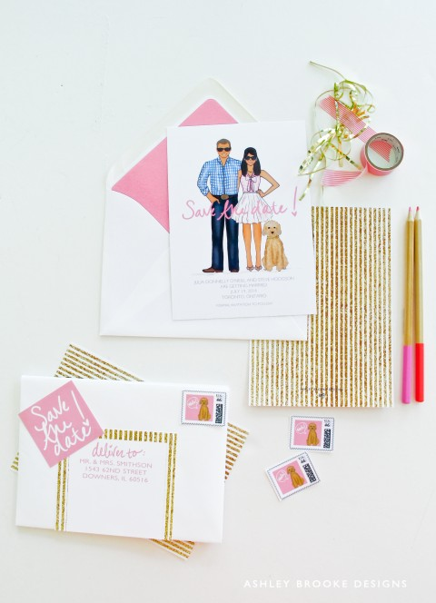 Glittery Save The Dates - Ashley Brooke Designs