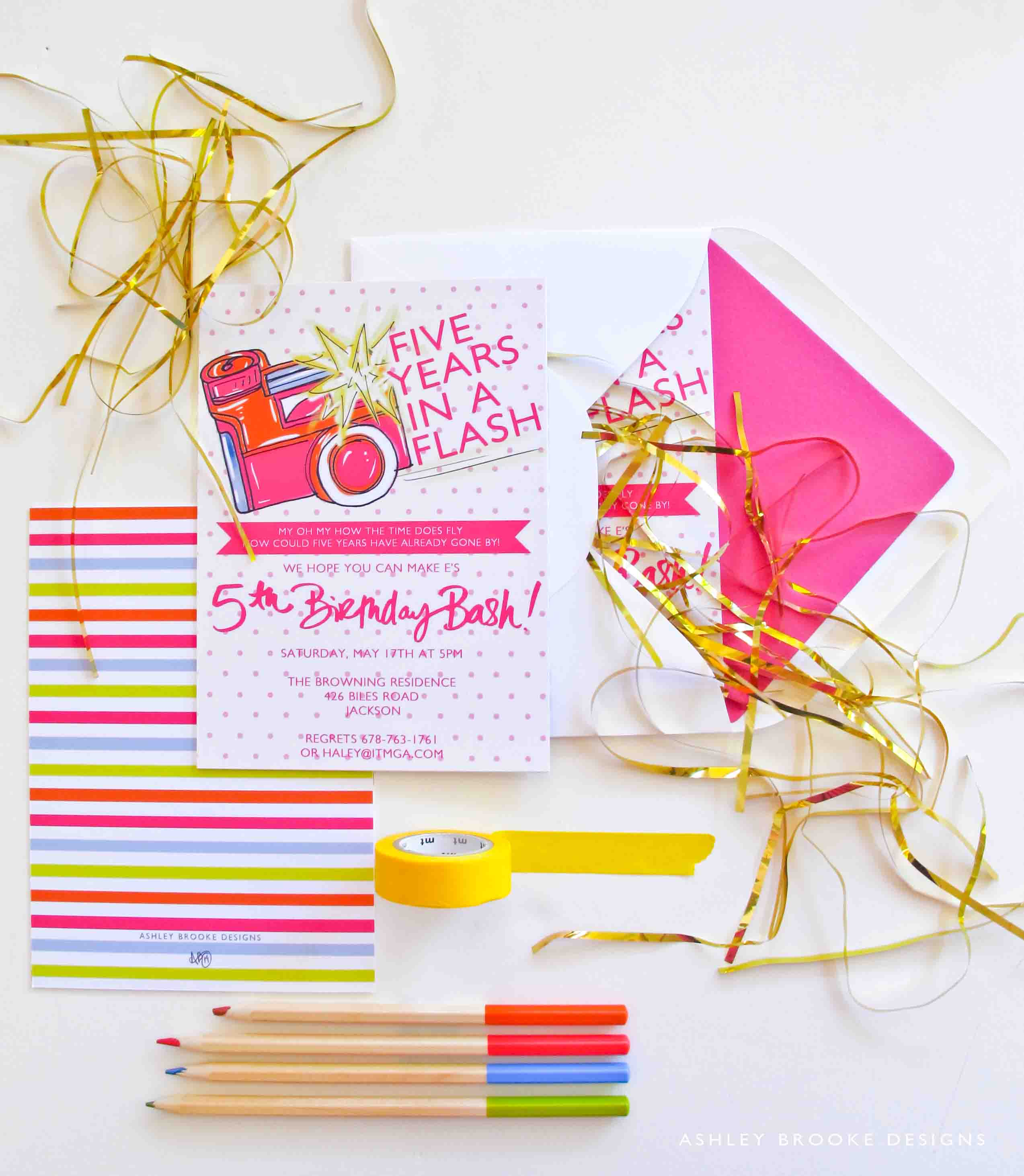 5th Birthday Party Invitation Via Ashley Brooke Designs