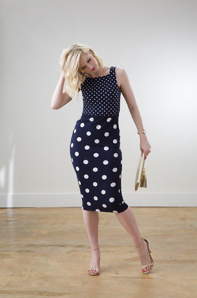 ASOS Polka Dotted Navy Dress via Ashley Brooke Designs 5