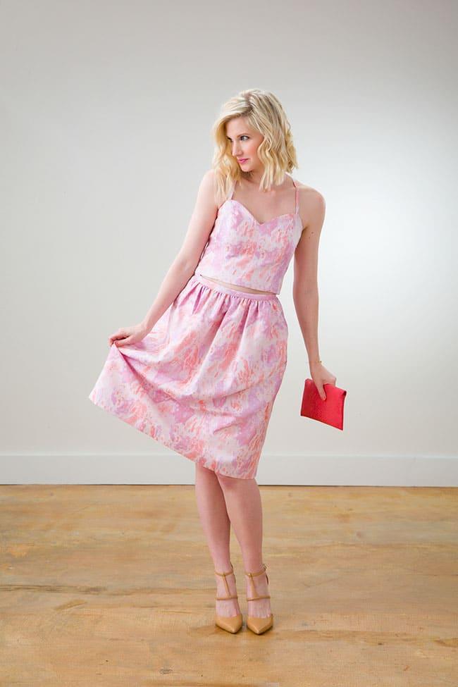Pink Crop Top and Skirt via Ashley Brooke Designs 2_1