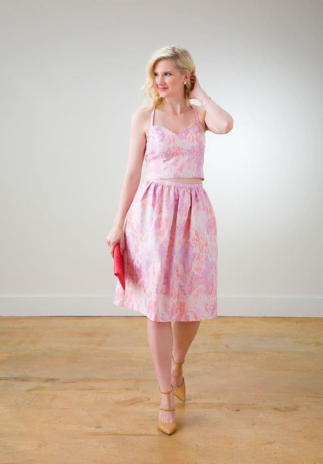 Pink Crop Top and Skirt via Ashley Brooke Designs 9_1