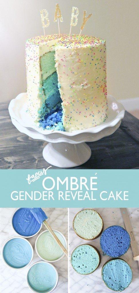 Ombre Gender Reveal Cake - Ashley Brooke Designs