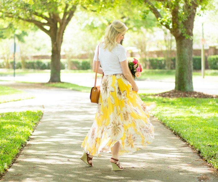 Ashley Brooke twirling in Floral Maxi Skirt
