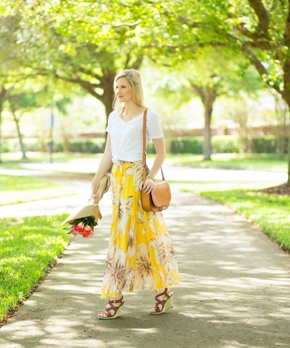 Ashley Brooke in Floral Maxi Skirt