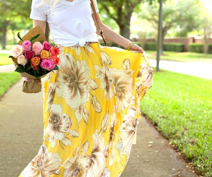 Ashley Brooke and Floral Maxi Skirt Close up