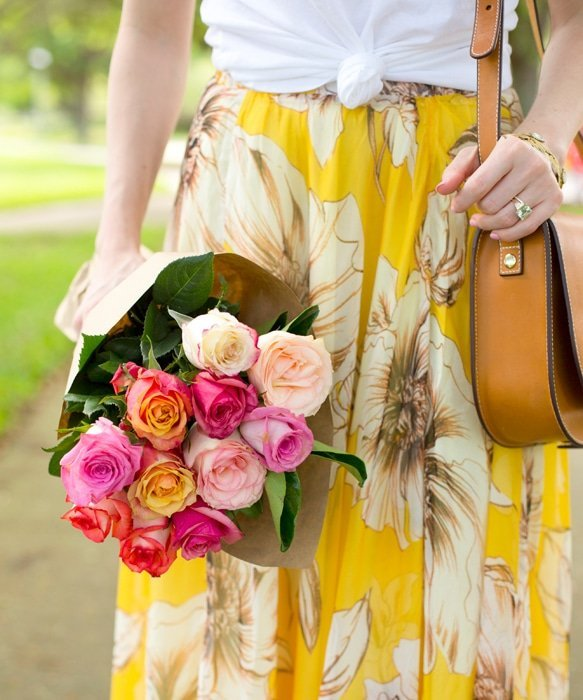Ashley Brooke and Floral Maxi, white T, flowers, handbag