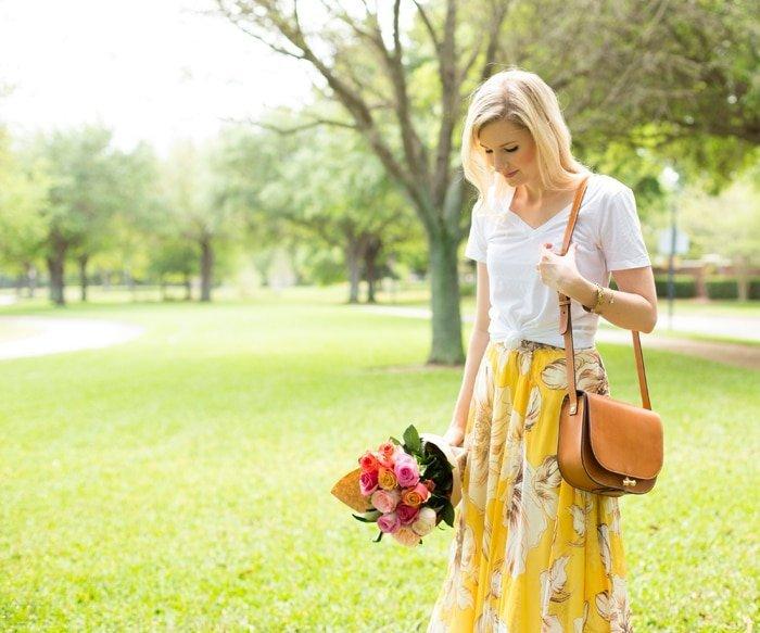 Ashley Brooke wearing Floral Maxi Skirt in Green Field