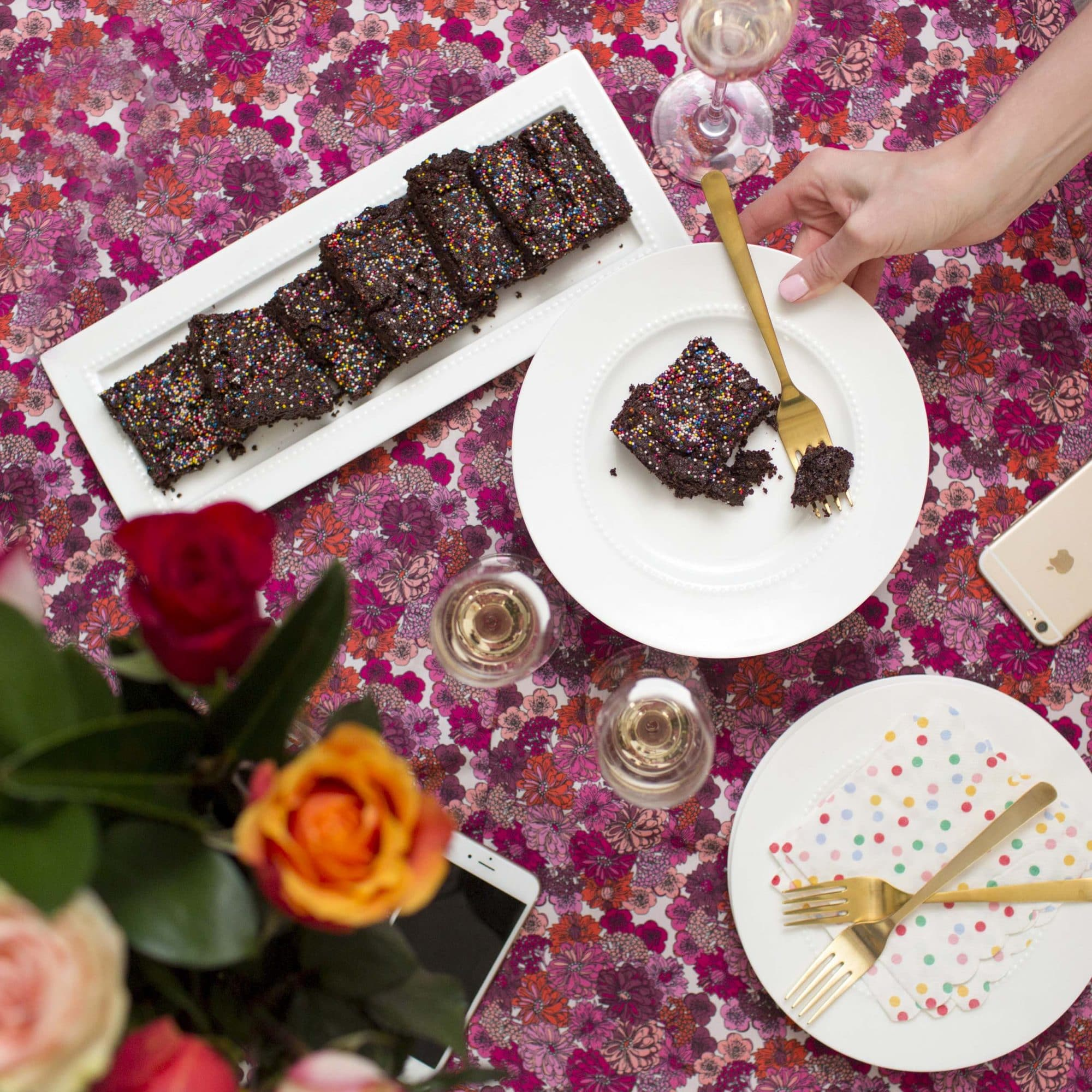 flat lay of decorated table with healthy brownies