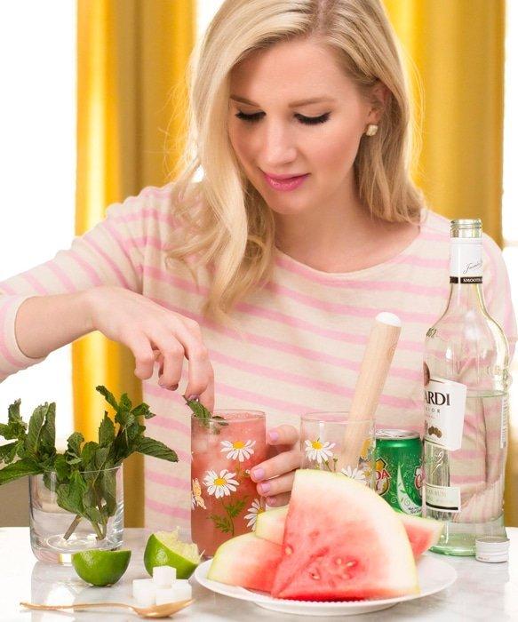 Ashley Brooke making Watermelon Mojito
