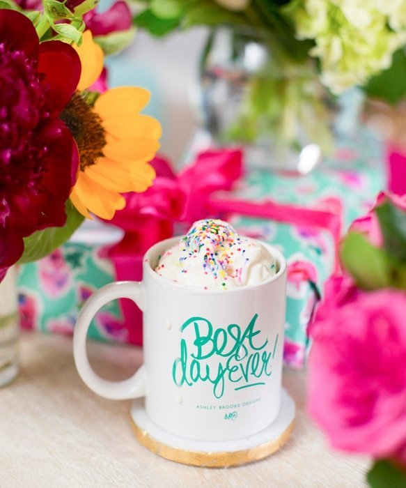 Birthday Coffee (coffee with whipped cream and sprinkles) in Best Day Ever mug