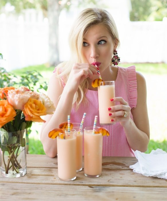 Ashley Brooke Sipping Peaches and Cream Milkshake