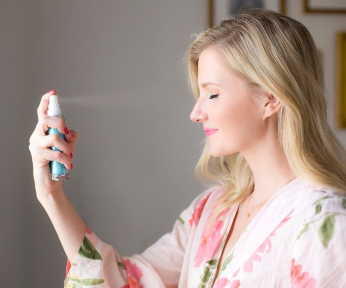 Ashley Brooke Applying Tula Hydrating Mist for Skincare