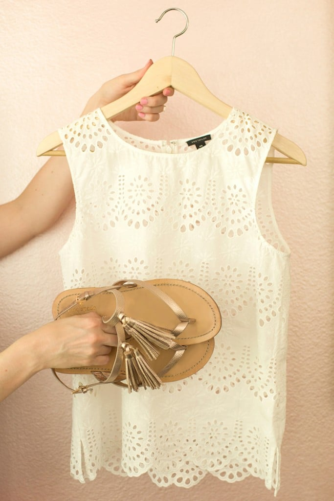 White Top from Ann Taylor with Kate Spade Sandals