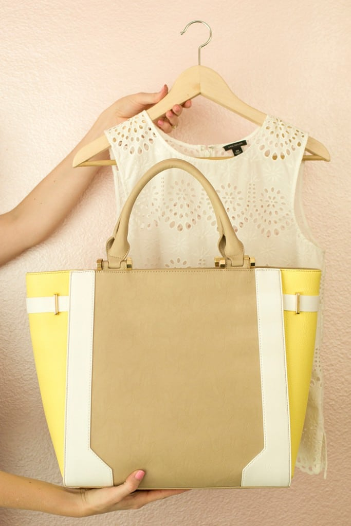 White Top from Ann Taylor with Color Block Tote from Charming Charlie
