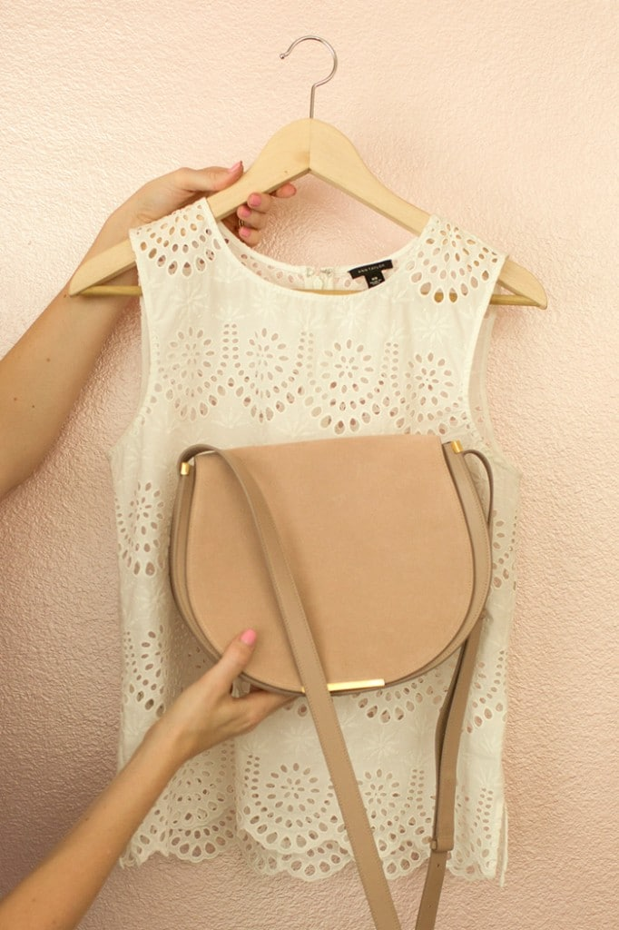 White Top from Ann Taylor with Sued Cuyana Saddle Bag