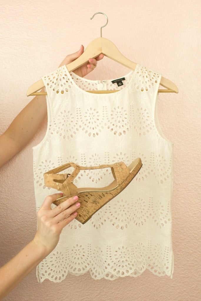 White Top from Ann Taylor with Jack Rogers Wedges
