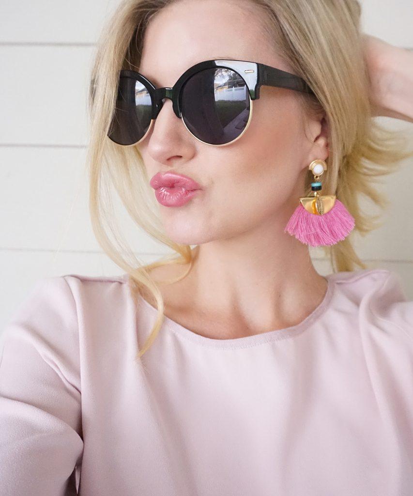 Blogger Ashley Brooke in Southern Sequins Tassel Earrings ashleybrookedesigns.com