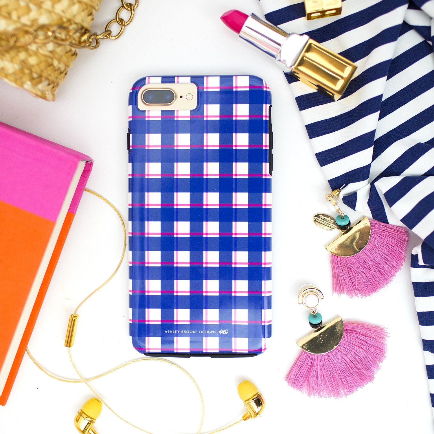 Ashley Brooke Designs Hand Illustrated Navy Plaid Phone Cases | ashleybrookedesigns.com