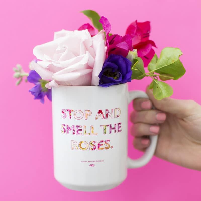Ashley Brooke Designs 15 oz Stop and Smell The Roses Coffee Mug | www.ashleybrookedesigns.com