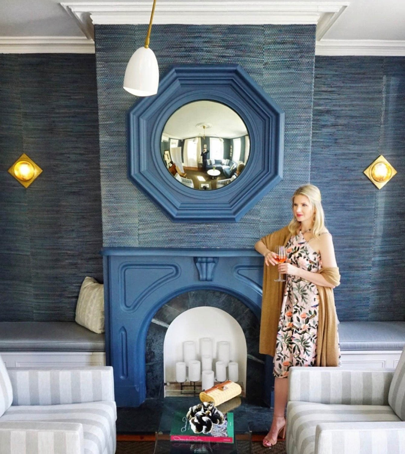 Ashley Brooke of Ashley Brooke Designs relaxing in the solan at 86 Cannon in Charleston, SC