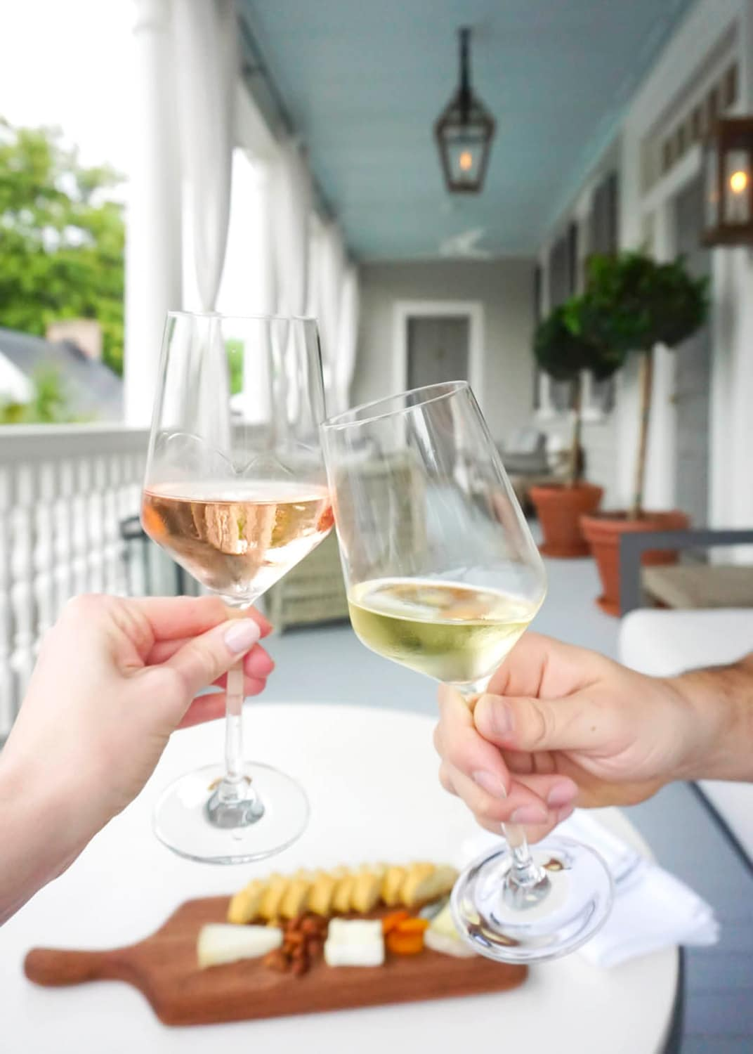 Afternoon wine and cheese at 86 Cannon in Charleston, SC