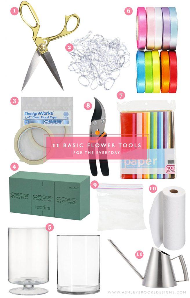 Blogger Ashley Brooke shares the basic flower tools you need to have for DIY! | www.ashleybrookedesigns.com