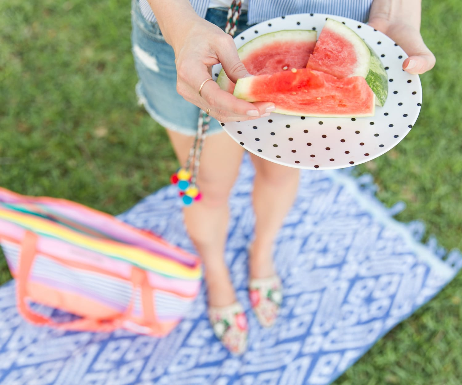 Watermelon on a polka dot plate is the best summer snack! | www.ashleybrookdesigns.com