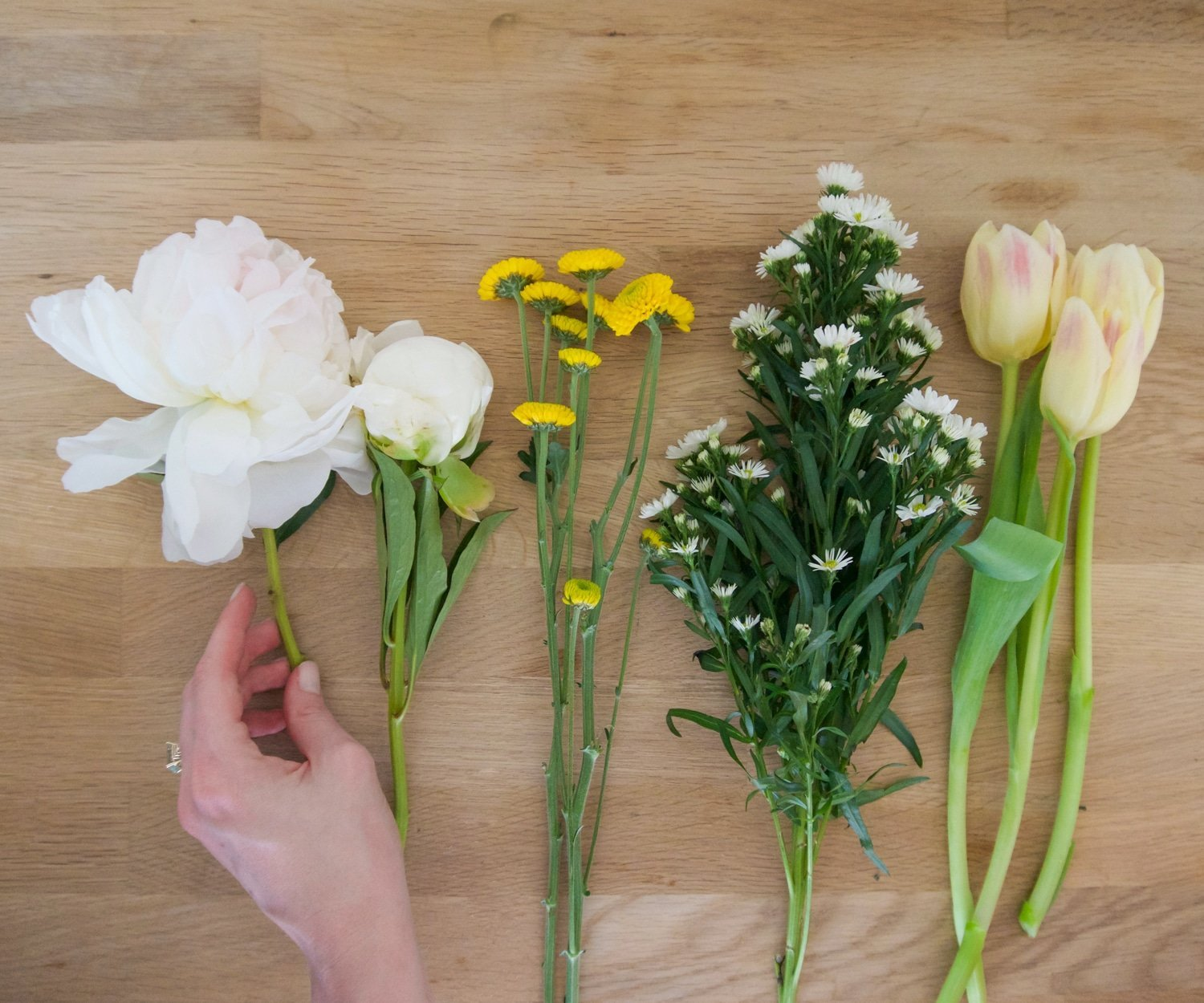 Peonies, tulips, and other spring flowers are perfect for a DIY bouquet! | www.ashleybrookedesigns.com