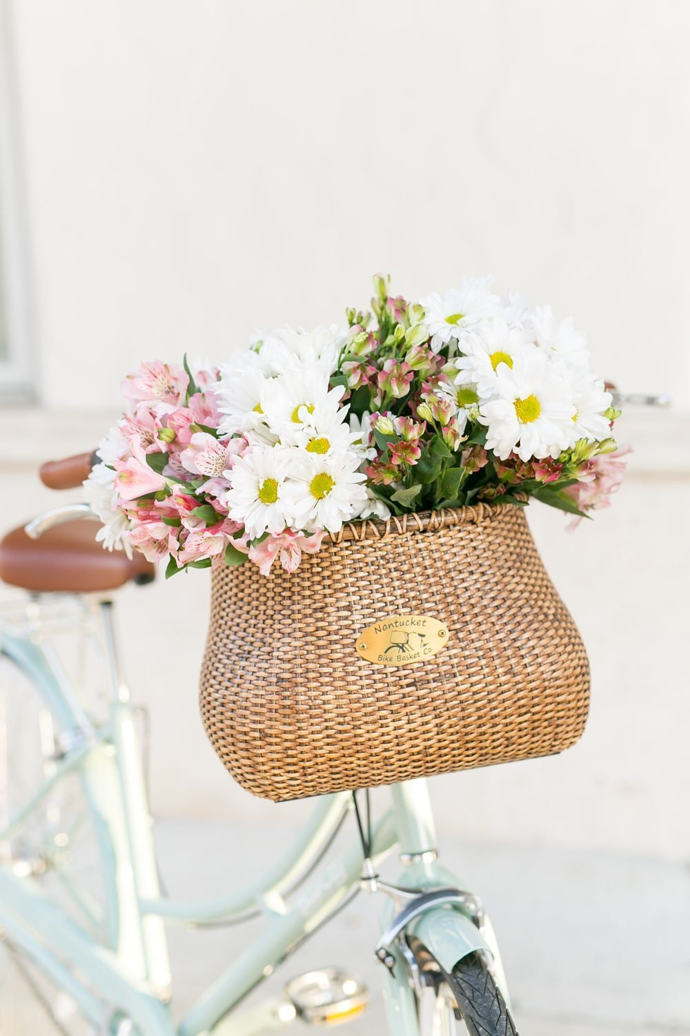 Nantucket Bike Basket Co filled with flowers! | www.ashleybrookedesigns.com