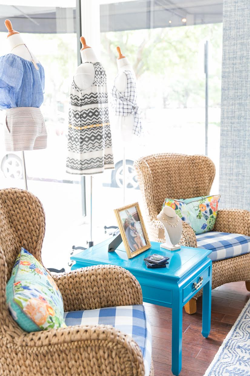 Gingham and rattan chairs inside Violet Clover in Winter Park, Florida. | www.ashleybrookedesigns.com