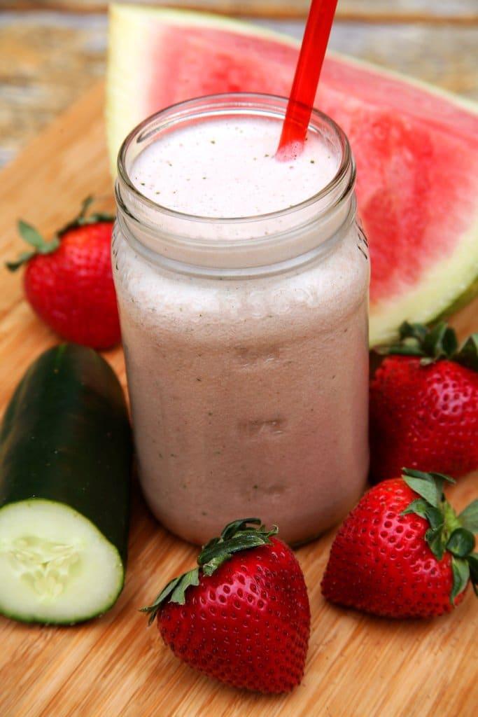 Strawberry Watermelon Hydrating Smoothie - It's healthy, I promise! | www.ashleybrookedesigns.com