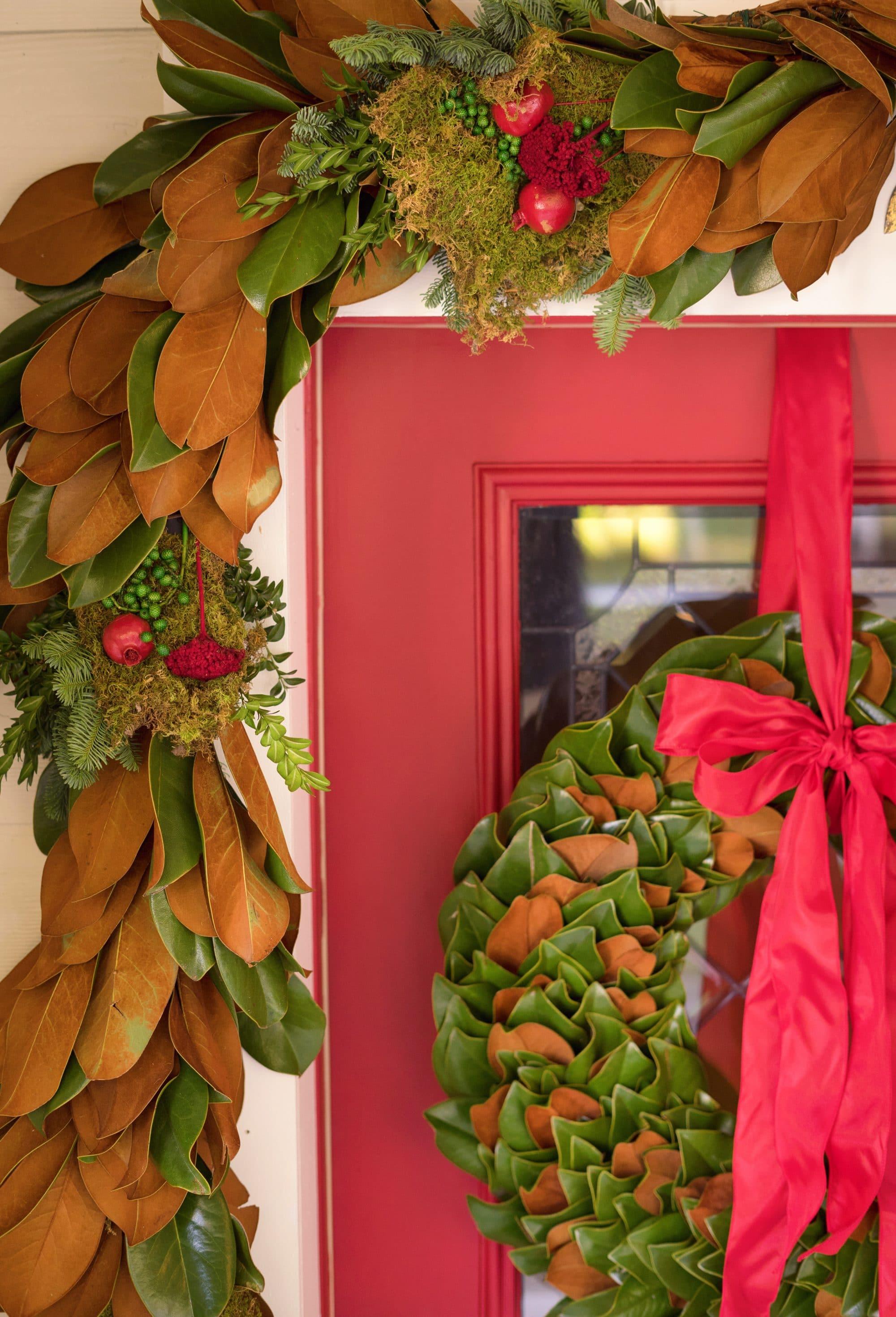 Blogger Ashley Brooke's 4 Steps to Fresh Front Door Holiday Decor | www.ashleybrookedesigns.com | Featuring: The Magnolia Company Holiday Decor
