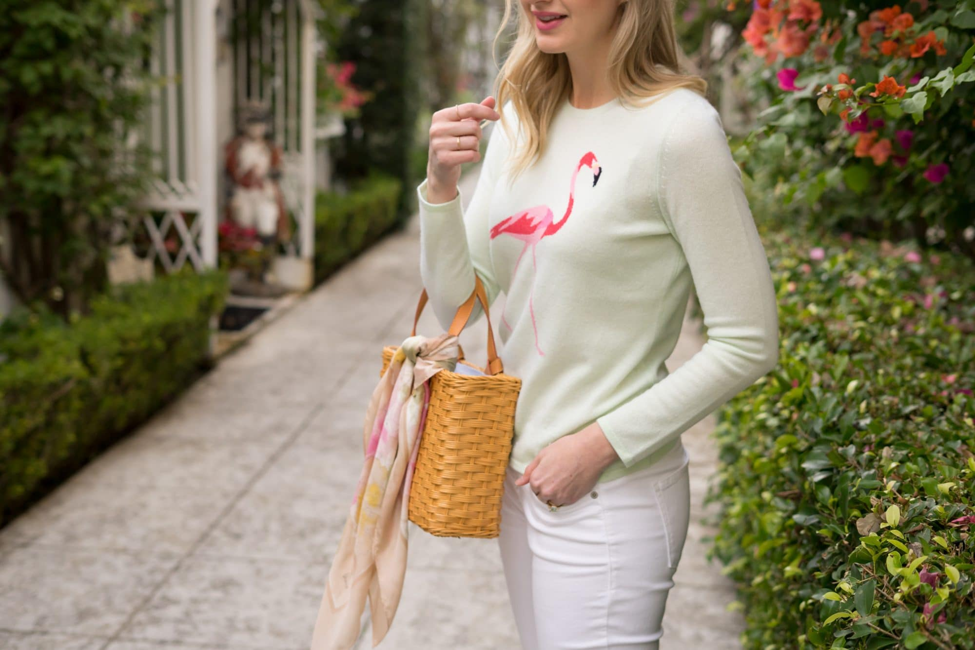 J.McLaughlin Everglades Cashmere Flamingo Sweater | www.ashleybrookedesigns.com