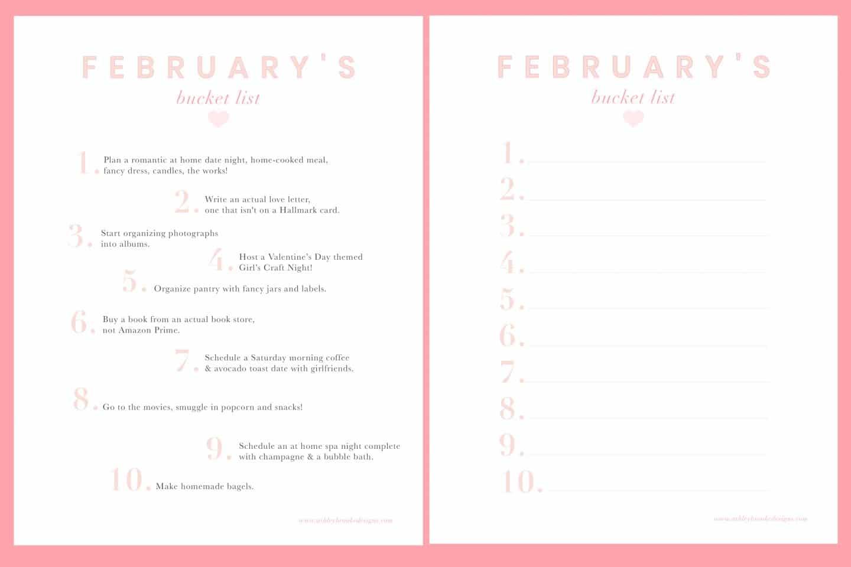 Ashley Brooke's Free February Bucket List Download | www.ashleybrookedesigns.com