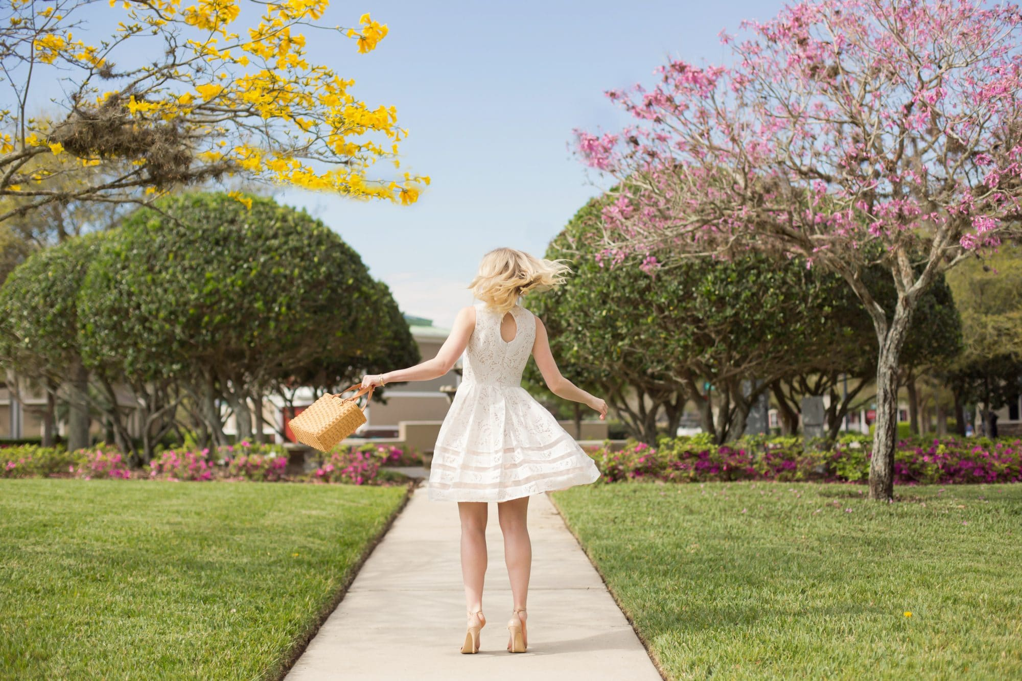 Spring White Dress - Twirling | www.ashleybrookedesigns.com