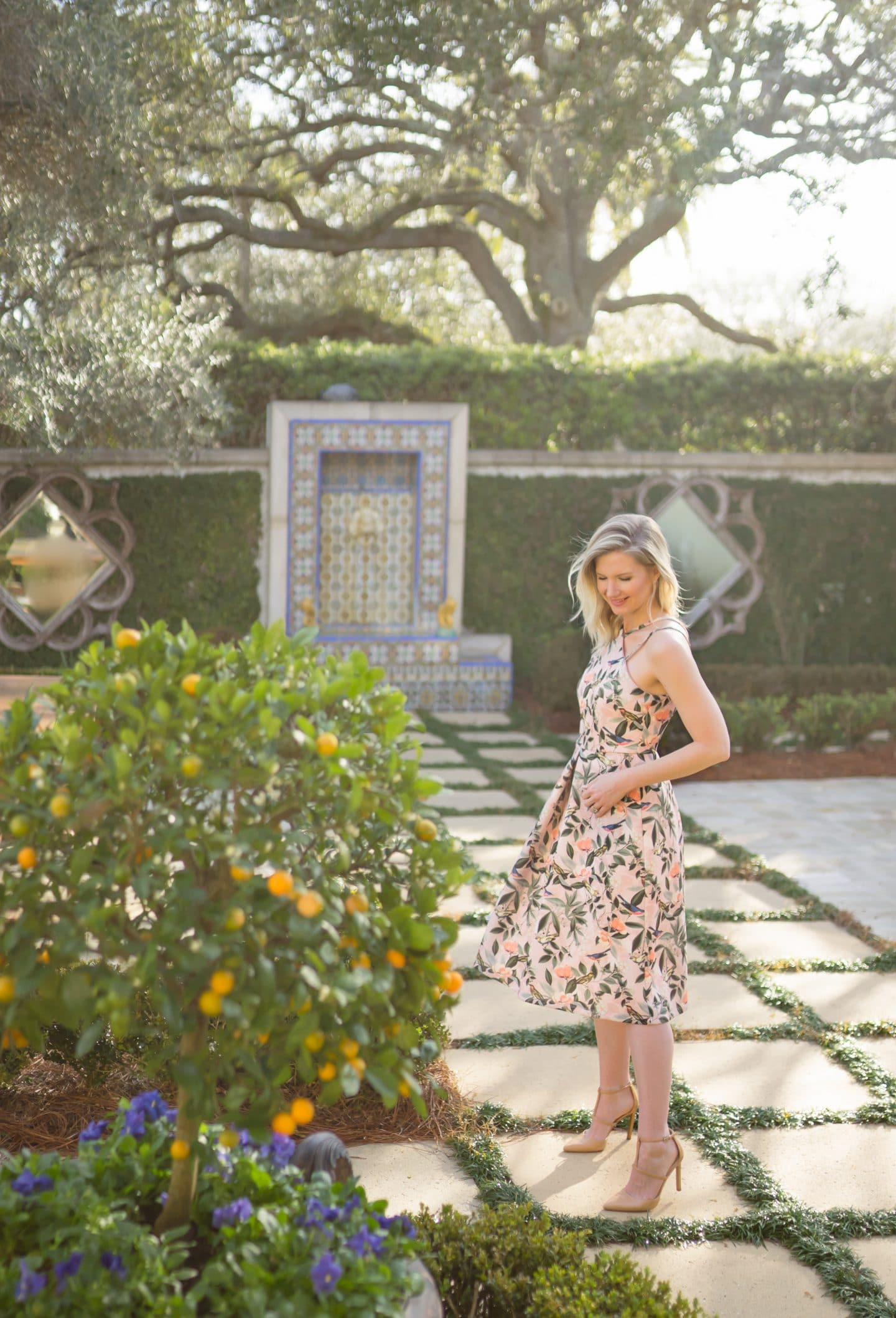 Garden at Sea Island, Georgia | Tea Length Floral Dresses | www.ashleybrookedesigns.com