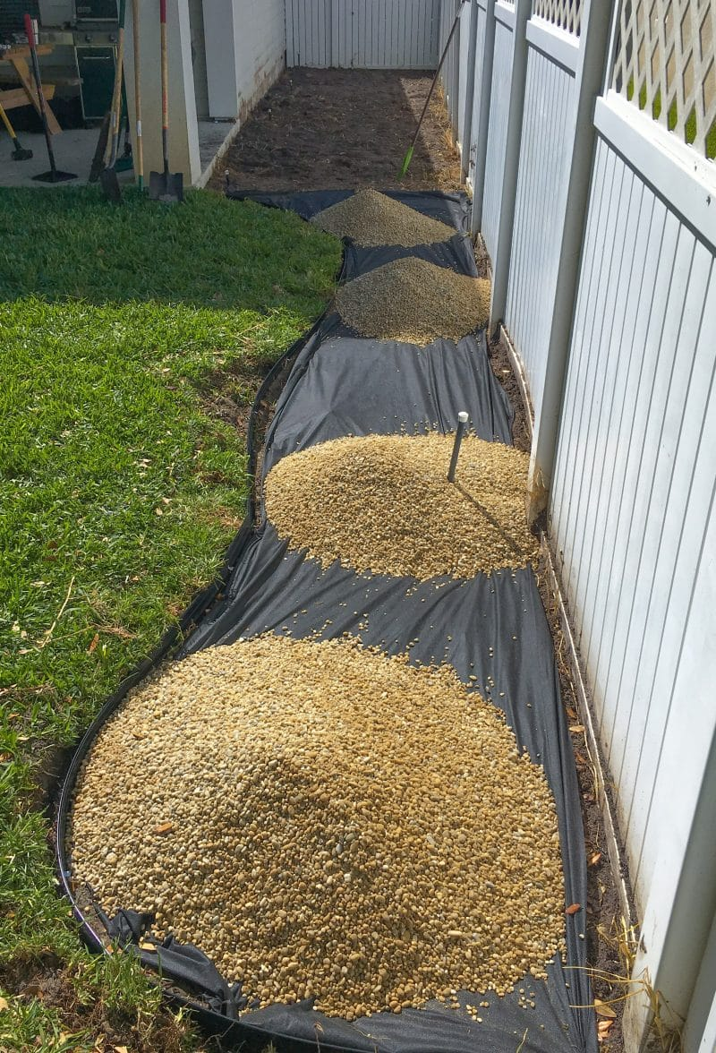 Installing a pea gravel flower bed - Ashley Brooke Designs