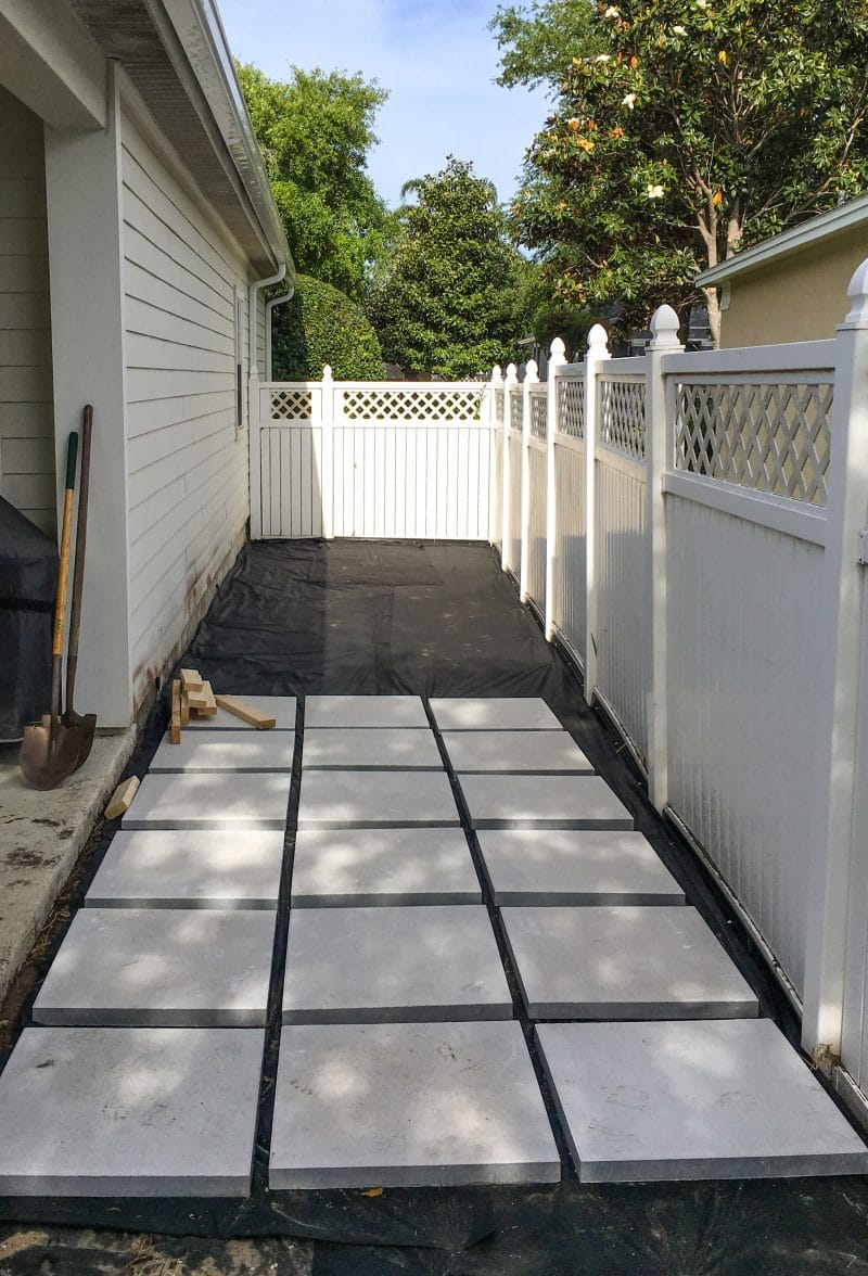 Our backyard redesign with a stepping stone paver patio and porch - Ashley Brooke Designs