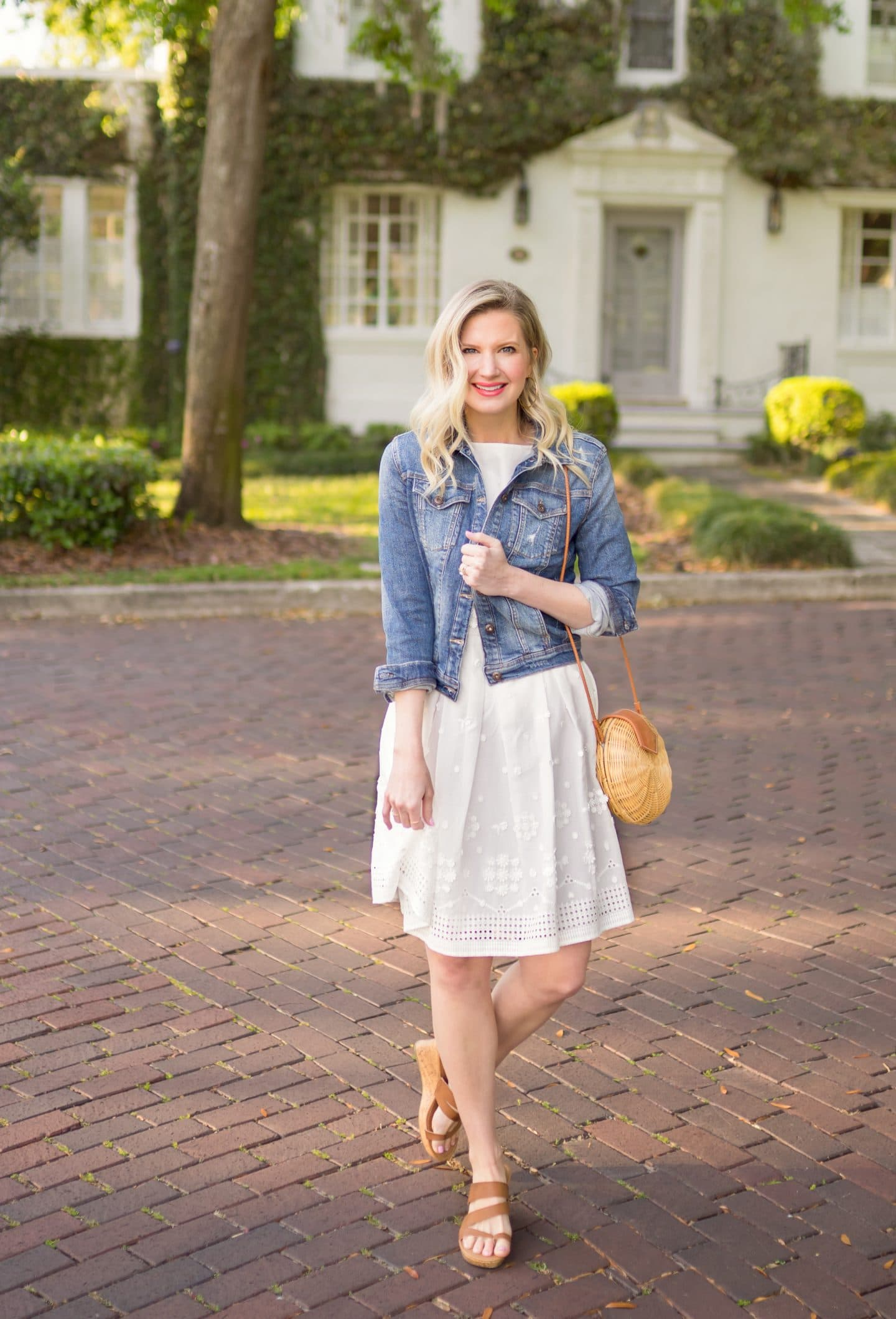 Ashley Brooke in Denim Jacket with White Dress - Ashley Brooke Designs