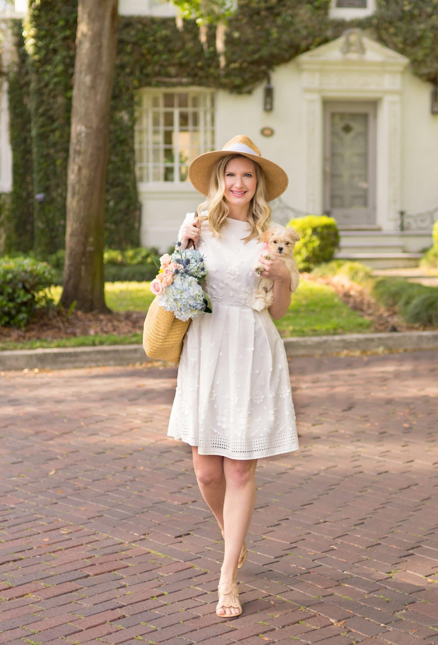 Ashley Brooke in White Maravea Charleston Day Dress - Ashley Brooke Designs