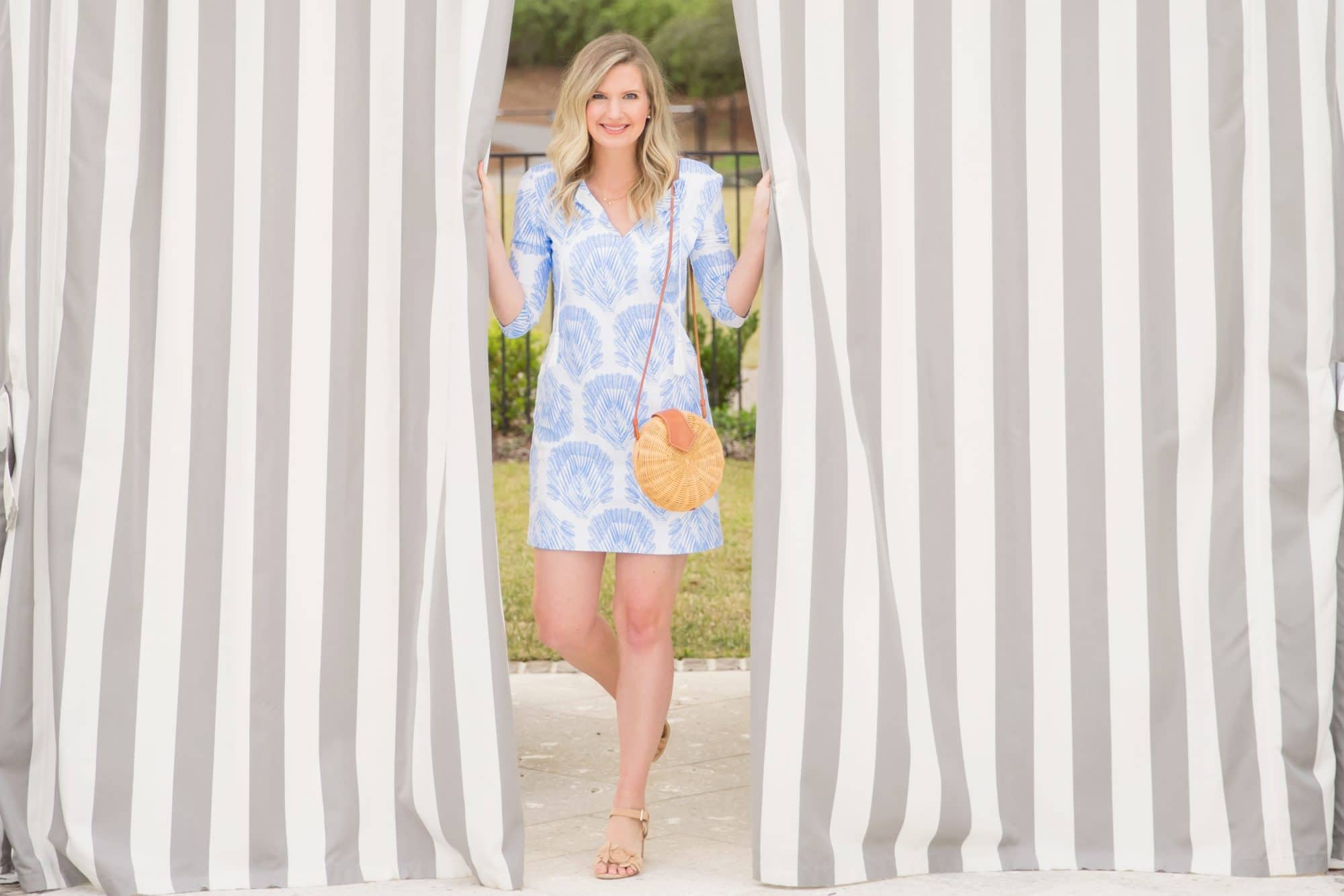 The Perfect Dress for Your Next Vacation | Persifor Blue & White Dress | www.ashleybrookedesigns.com